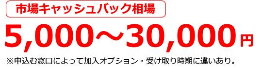 キャッシュバック最大3万円