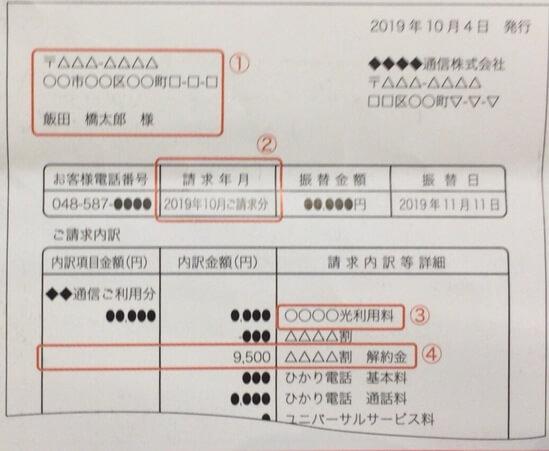 請求書のコピー例