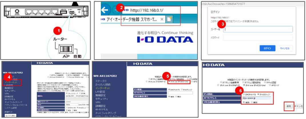アイ・オーデータ製のIpv6の接続方法