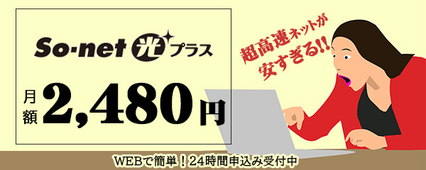 So-net光プラス 月額2,080円 超高速ネットが安すぎる!!